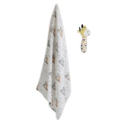 the little linen company muslin wrap and crinkle toy orange giraffe