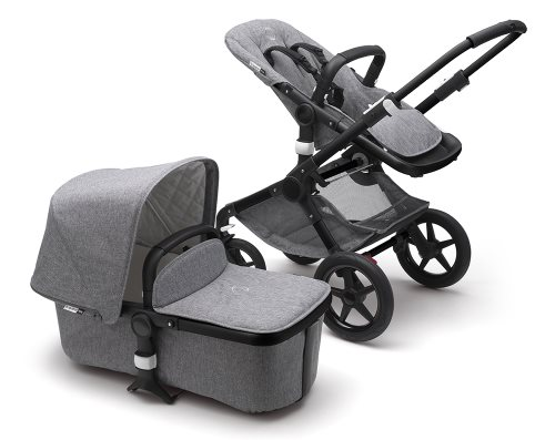 bugaboo fox black frame grey stroller and bassinet