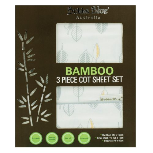 bubba blue Bamboo Leaf 3pc cot sheet set