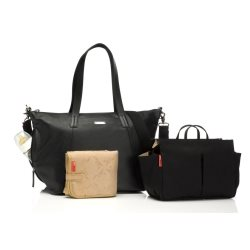 Storksak Noa Leather Black nappy bag with accessories