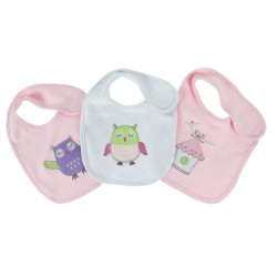 bubba blue girl baby owl 3pk bibs