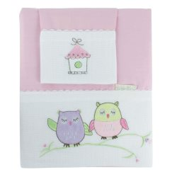 bubba blue girl baby owl cot sheet set