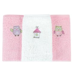 bubba blue girl baby owl 3pk facewashers