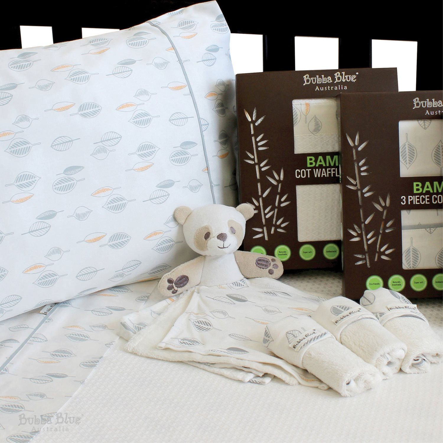 Nursery Bedding Blankets & Throws NEW Bubba Blue Bamboo Cot Sheet Set 3pce