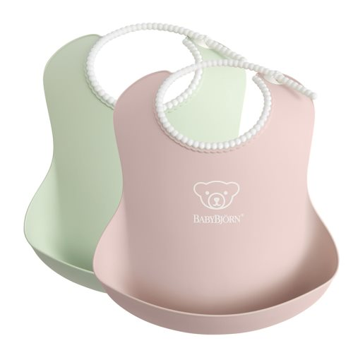 Baby Bib   Powder GreenPowder Pink, 2 pack