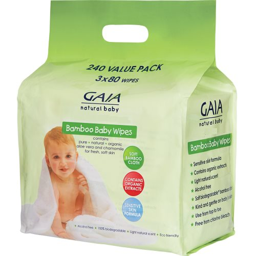 GAIA bamboo wipes 3x80