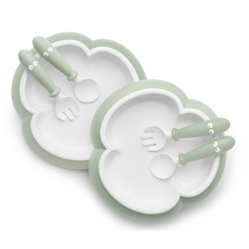 Baby Plate, Spoon and Fork   Powder Green, 2 pack